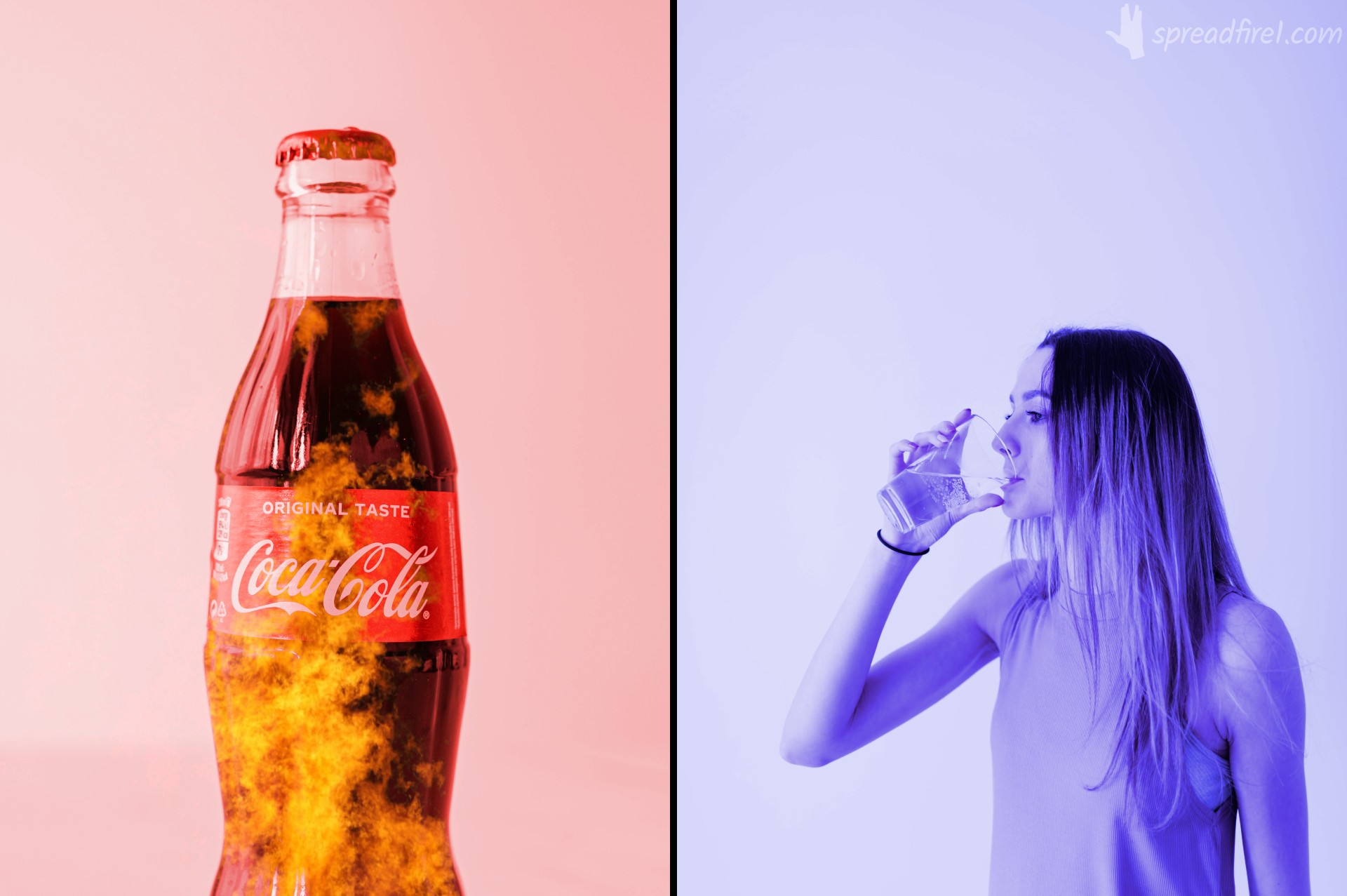 coke vs water. bad vices vs healthy habits. red burning coca cola bottle vs blue woman drinking water glass. spreadfire1.com